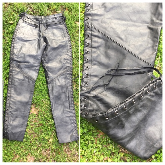 Pants - Leather Lace Up 100% Distressed Leather Moto Pants